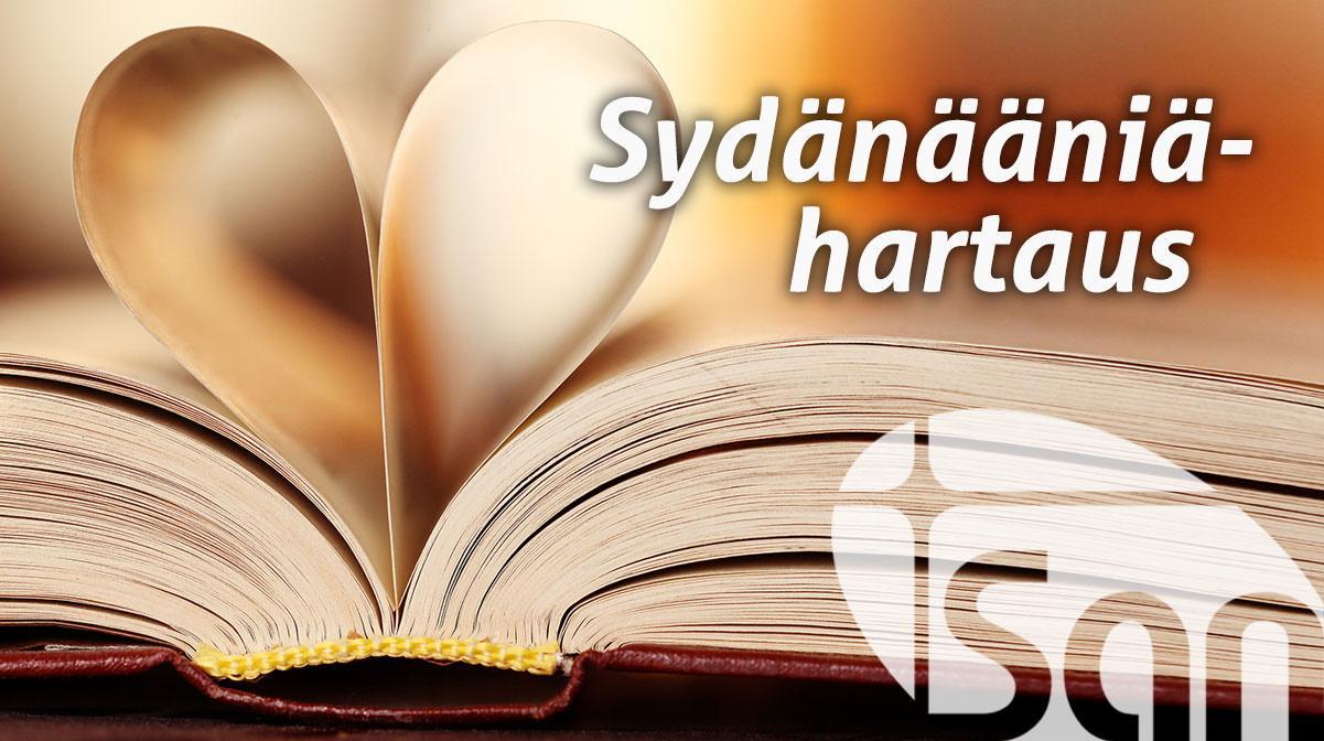 Sydänääniä-hartauskuva, avoin Raamattu ja sydän..